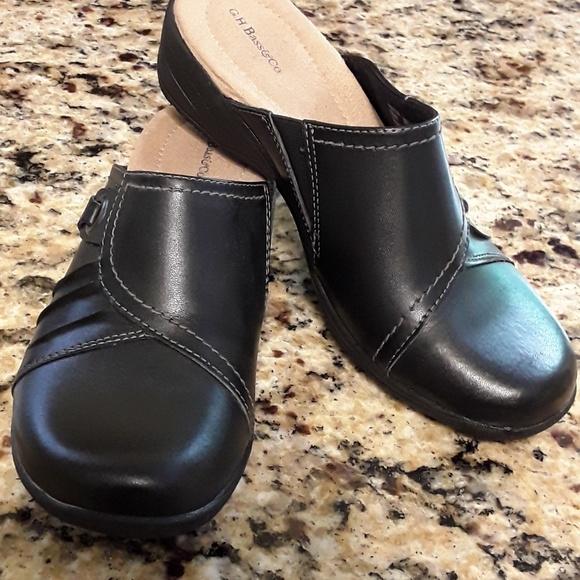 New Ladies Eliza Black Leather Mules 9m